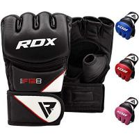 Kickbox-Handschuhe RDX MMA, GGR-F12B, Handschuhe UFC Kampfsport Sparring Freefight Trainingshandschuhe Grappling Sandsack Gloves, Schwarz, M