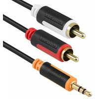 Cinch-Kabel mumbi Y Audiokabel - 3.5mm Klinke auf 2x Cinch mit vergoldeten Steckern 2m