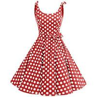 50er-Jahre-Kostüme bbonlinedress 1950er Vintage Polka Dots Pinup Retro Rockabilly Kleid Cocktailkleider Red White Big Dot S