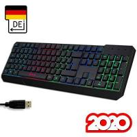 KLIM™ Chroma Gaming Tastatur - Gamer Keyboard LED Beleuchtete QWERTZ DEUTSCH mit USB Kabel - Hohe Leistung - Bunte Beleuchtung RGB - PC, Laptop, PS4, Xbox One X - 2019 Version - Schwarz