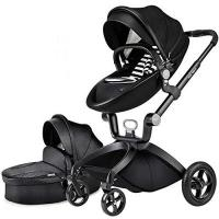 Kinderwagen Hot Mom Limited Edition Kombikinderwagen mit Buggyaufsatz und Babywanne 3-in-1 Travelsystem Funktion new 2018,Schwarz