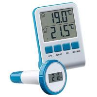 Pool Thermometer FreeTec Wasser Thermometer: Digitales Teich- und Poolthermometer mit LCD-Funk-Empfänger, IPX8 (Teichthermometer)