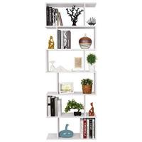 Bücherregal HOMFA S-Form Bücherregal Raumteiler Regal Standregal Ablageregal Büroregal Aktenregal Wandregal für Diele, Flur, Büro mit 6 Ablagen 190.5*70*23.5 cm (H x B x T)