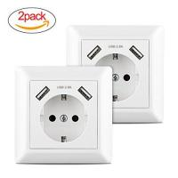 Schuko-Steckdose 2 x USB Schuko Steckdose, 250V Steckdose mit 2 x USB(Max. 2800mhA), Laden aller mobilen Geräte Ipod Iphone Ipad Smartphone MP3 Passent in standart Unterputzdose unterputz