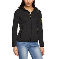 Fleece-Jacke CMP Damen Strick Fleece Kapuze Jacke, Nero Mel./Nero/Cedro, 40