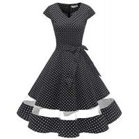 Gardenwed 1950er Vintage Retro Cocktailkleid Cap Sleeves Rockabilly Kleider Damen Schwingen Petticoat Faltenrock Black Small White Dot XL