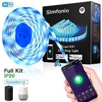 Smart Home Beleuchtungs-Set Simfonio LED Strip 5m - LED Stripes Arbeitet mit Alexa, Google Home, IFTTT, Wifi Wireless Smart Phone Gesteuert - LED Band 5m 5050SMD 150 LED RGB Strip Full Kit - LED Streifen Kit mit Fernbedienung