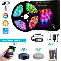 LED Strip Google Home, GoKlug LED Strip Alexa Streifen 5m LED Leiste Fernseher Lichtstreifen Musik Sync Band Leiste Profil LED Streifen Dimmbar IP65 LED band RGB TV WLAN LED Strip Smart App steuerbar